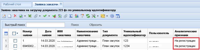 Статус вновь созданной Заявки заказчика на загрузку документа