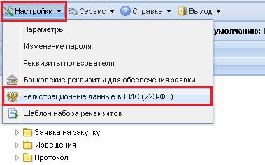Кнопка «Регистрационные данные в ЕИС (223-ФЗ)»